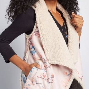 BB Dakota Jackets & Coats - BB Dakota | reversibe floral shearling draped vest